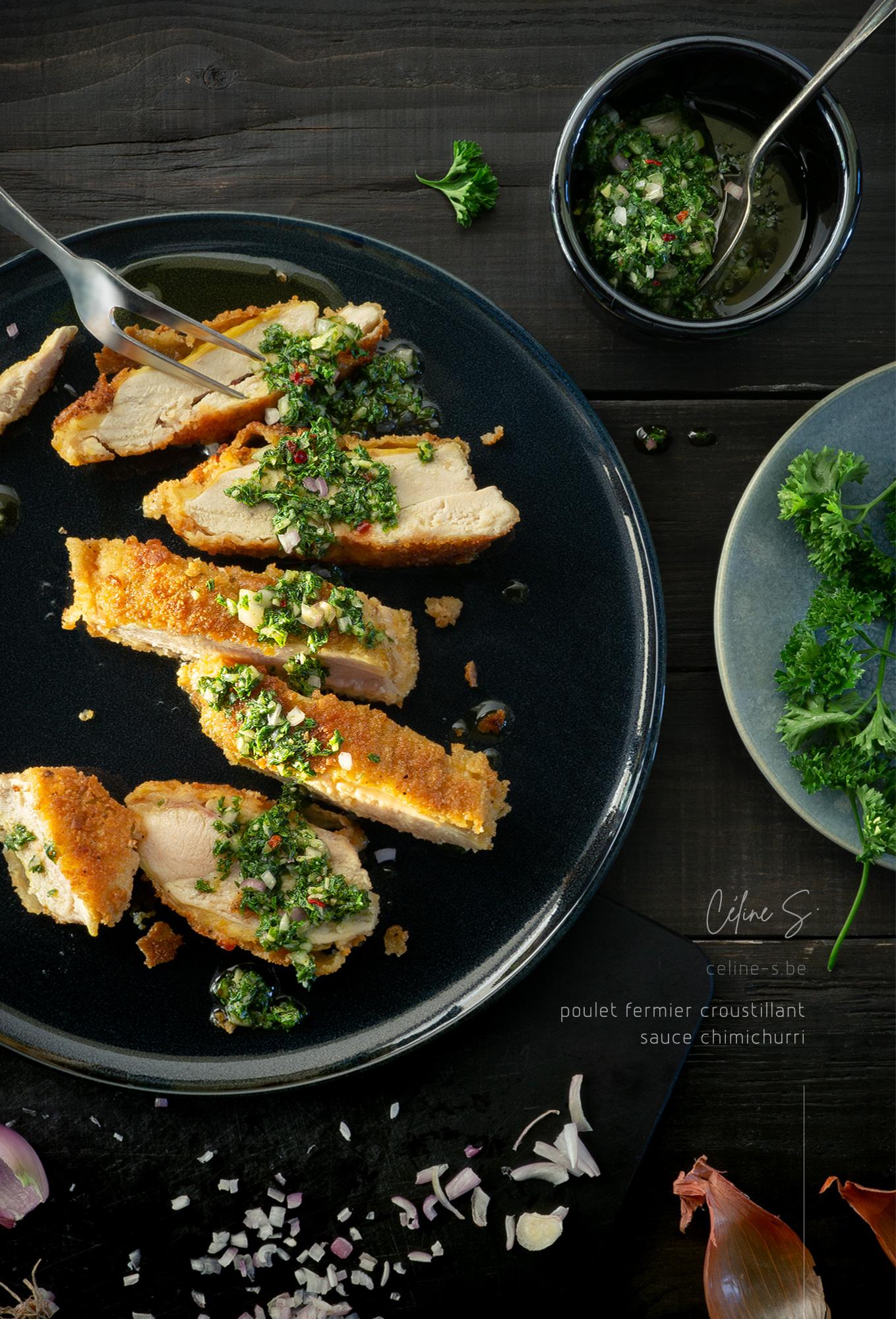 Céline stiévenard - photographe styliste food -Poulet-pane-sauce-chimichurri